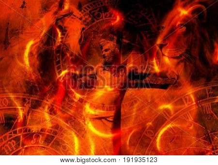 interpretation of Jesus on the cross and animals and zodiac, graphic painting version. Fire effect