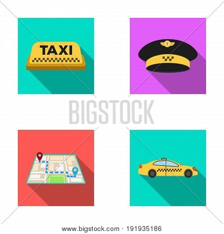 Yellow taxi inscription, a cap with a taxi badge, a map with a mark, a car with checkers. Taxi set collection icons in flat style vector symbol stock illustration .