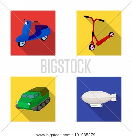 Motorcycle, scooter, armored personnel carrier, aerostat types of transport. Transport set collection icons in flat style vector symbol stock illustration .