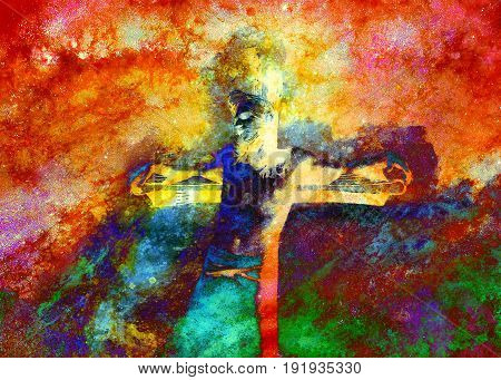 Jesus on the cross, avanrgard interpretation with graphic stylization
