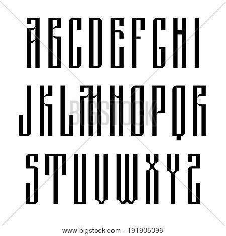 Narrow sans serif font based on old slavic calligraphy. Latin uppercases isolated on white background. Vector illustration.