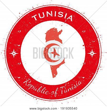 Tunisia Circular Patriotic Badge. Grunge Rubber Stamp With National Flag, Map And The Tunisia Writte