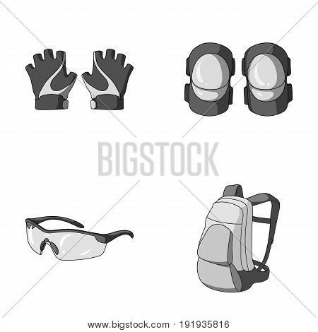 Gloves, elbow pads, goggles, cyclist backpack.Cyclist outfit set collection icons in monochrome style vector symbol stock illustration .
