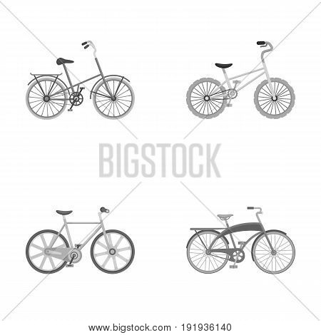 Children's bicycle and other kinds.Different bicycles set collection icons in monochrome style vector symbol stock illustration .