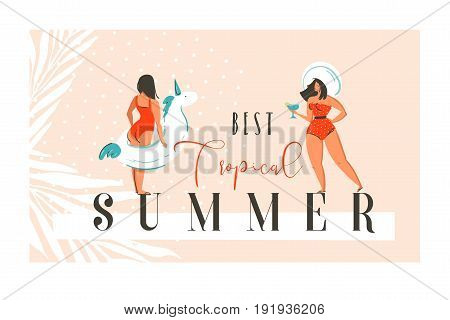Hand drawn vector abstract exotic summer time funny illustration card template with girls, unicorn float on sand shore and modern calligraphy quote Best tropical summer.
