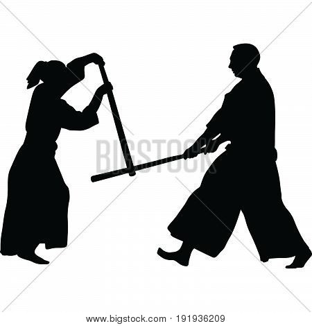 woman and man practice aikido martial art