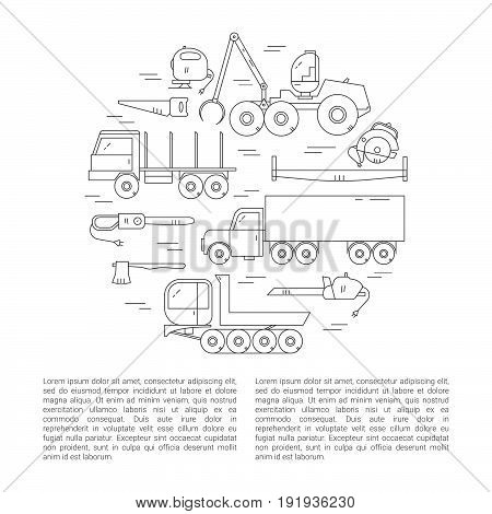 Forest Industry Icon Set. Logging Equipment.