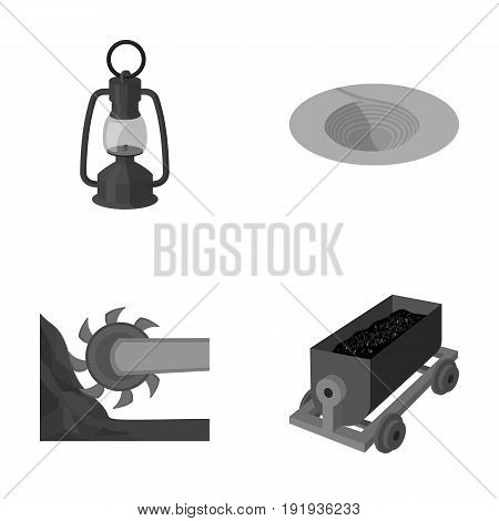 A miner's lamp, a funnel, a mining combine, a trolley with ore.Mining industry set collection icons in monochrome style vector symbol stock illustration .