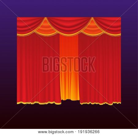Curtains - realistic vector red drapes closed. Gradient background. High quality clip art for presentations, banners and flyers, depicting cinema, concert and prize award illustrations.