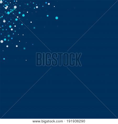 Beautiful Falling Snow. Left Right Corner With Beautiful Falling Snow On Deep Blue Background. Vecto