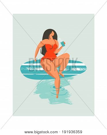 Hand drawn vector abstract cute summer time beach surfer girl illustration with red swimwear and surfboard isolated on blue background.