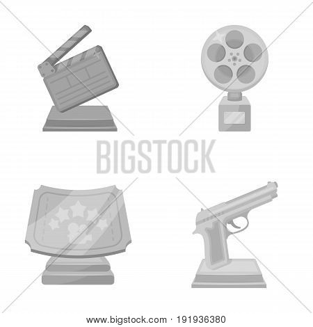 Gold pistol, silver prize for the best supporting role and other prizes.Movie awards set collection icons in monochrome style vector symbol stock illustration .