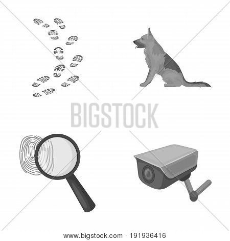 Traces on the ground, service shepherd, security camera, fingerprint. Prison set collection icons in monochrome style vector symbol stock illustration .