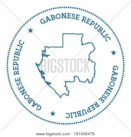 Gabon Vector Map Sticker. Hipster And Retro Style Badge With Gabon Map. Minimalistic Insignia With R