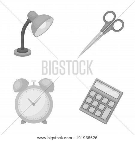 Table lamp, scissors, alarm clock, calculator. School and education set collection icons in monochrome style vector symbol stock illustration .