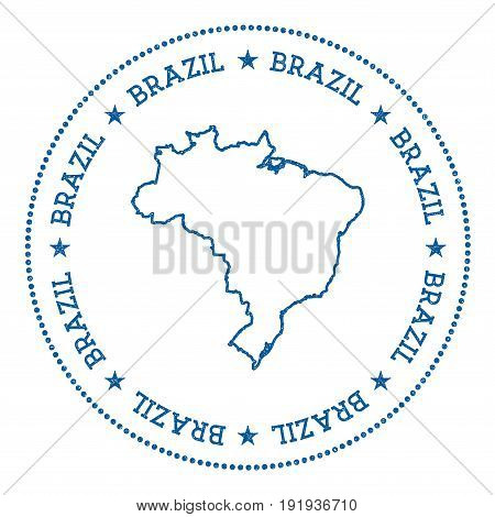 Brazil Vector Map Sticker. Hipster And Retro Style Badge With Brazil Map. Minimalistic Insignia With