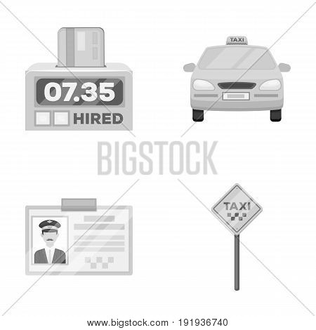 The counter of the fare in the taxi, the taxi car, the driver's badge, the parking lot of the car. Taxi set collection icons in monochrome style vector symbol stock illustration .