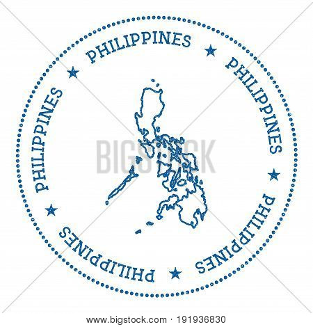 Philippines Vector Map Sticker. Hipster And Retro Style Badge With Philippines Map. Minimalistic Ins