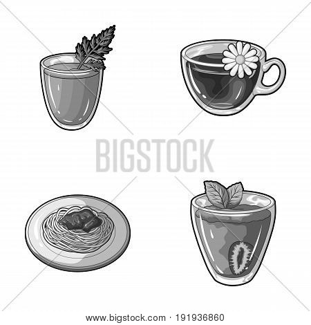 Carrot juice in a glass, chamomile tea in a cup, porridge on a plate, strawberry juice in a glass with a leaf. Vegetarian dishes set collection icons in monochrome style vector symbol stock illustration .