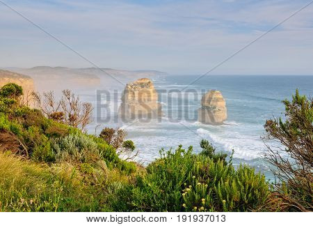 Two of the iconic limestone stacks of the Twelve Apostles in the Port Campbell National Park - Great Ocean Road Victoria Australia