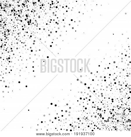 Dense Black Dots. Abstract Chaotic Scatter With Dense Black Dots On White Background. Vector Illustr