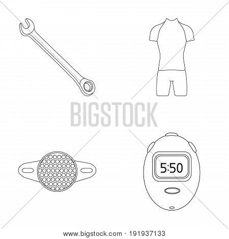 A wrench, a bicyclist's bone, a reflector, a timer.Cyclist outfit set collection icons in outline style vector symbol stock illustration .