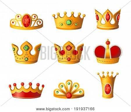 Crowns - realistic modern vector set of different royal headgear. White background. High quality clip art for presentations, banners and flyers. King and queen gold prizes with diamonds.