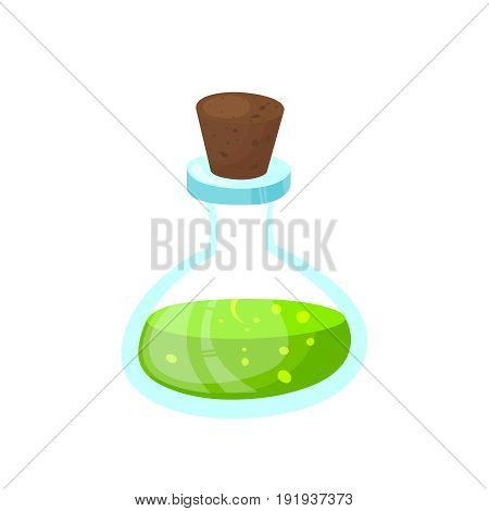 Halloween funny stuff .Glass beaker with a poisonous liquid. Cartoon style vector illustration.