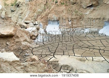 Dried ground crackled clay arid land stones