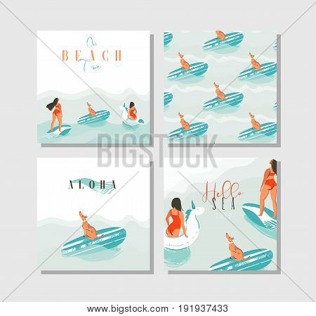 Hand drawn vector abstract exotic summer time funny cards set collection template with surfer girls, unicorn float, surfboard and dog on on blue ocean waves water.