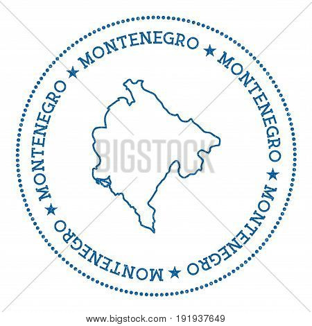 Montenegro Vector Map Sticker. Hipster And Retro Style Badge With Montenegro Map. Minimalistic Insig