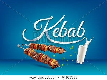 Kebab paper hand lettering calligraphy. Vector illustration with food drink objects and text.
