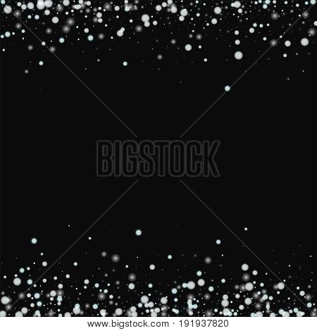 Beautiful Falling Snow. Borders With Beautiful Falling Snow On Black Background. Vector Illustration