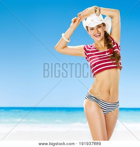 Portrait Of Relaxed Active Woman On Seacoast