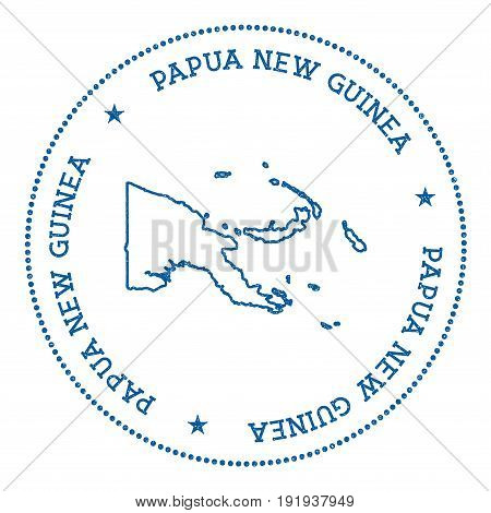 Papua New Guinea Vector Map Sticker. Hipster And Retro Style Badge With Papua New Guinea Map. Minima