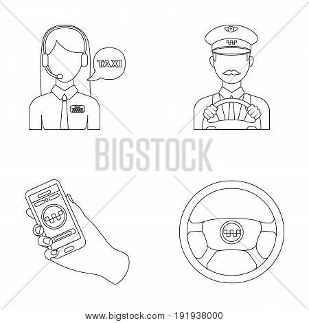 A taxi driver with a microphone, a taxi driver at the wheel, a cell phone with a number, a car steering wheel. Taxi set collection icons in outline style vector symbol stock illustration .
