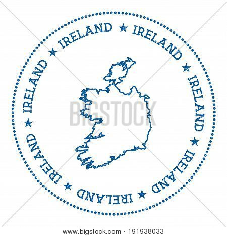 Ireland Vector Map Sticker. Hipster And Retro Style Badge With Ireland Map. Minimalistic Insignia Wi