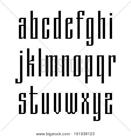 Narrow sans serif font based on old slavic calligraphy. Latin lowercases isolated on white background. Vector illustration.