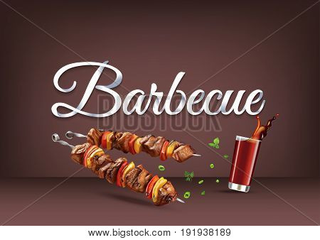 Barbecue paper hand lettering calligraphy. Vector illustration with food and drink objects and text.