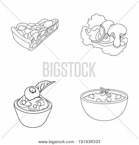 Piece of vegetarian pizza with tomatoes, lettuce leaves with mushrooms, blueberry cake, vegetarian soup with greens. Vegetarian dishes set collection icons in outline style vector symbol stock illustration .