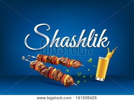 Barbecue Shashlik paper hand lettering calligraphy. Vector illustration with food and drink objects and text.
