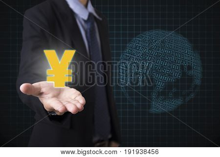 Businessman holding yen signs money with global financial number background. concept exchange currency.