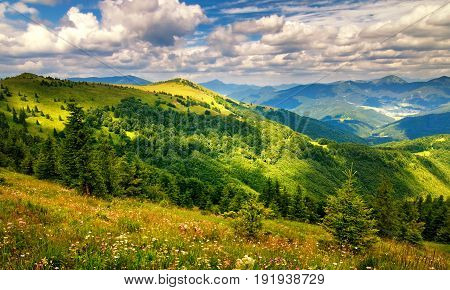 Sun-lit Landscape With Flowery Meadows And The Mountain Peaks, B