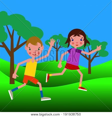 Couple of happy boy and girl performing a jog in the summer park