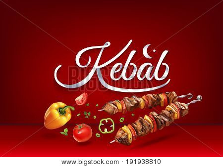 Kebab paper hand lettering calligraphy. Vector illustration with food objects and text.