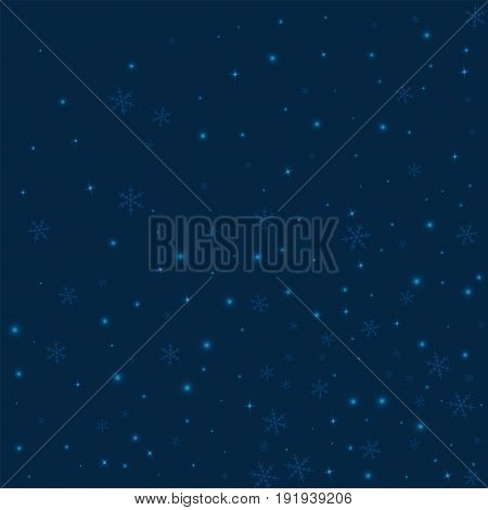 Sparse Glowing Snow. Abstract Random Scatter On Deep Blue Background. Vector Illustration.