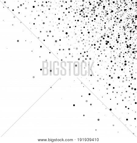 Dense Black Dots. Scattered Top Right Corner With Dense Black Dots On White Background. Vector Illus