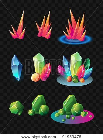 Crystals - realistic modern vector set of different minerals. Black background. Use this high quality clip art for presentations, banners and flyers. Blue, green and red prizes, tokens, chips