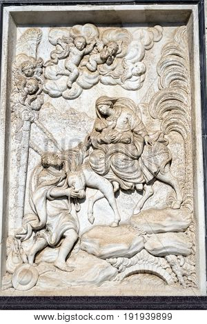Facade of the historic Certosa di Pavia (Lombardy Italy) medieval monument. Bas-relief