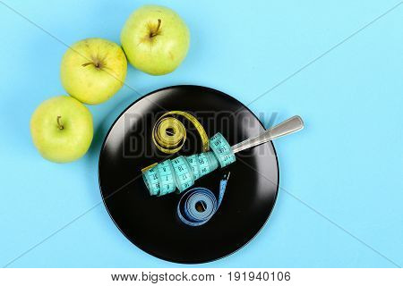 Plate With Fork And Tapes For Measuring On It